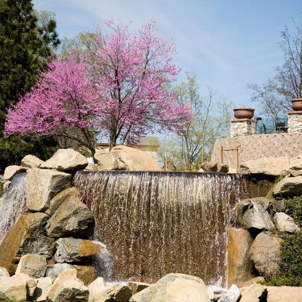 Stone waterfall  addition to garden